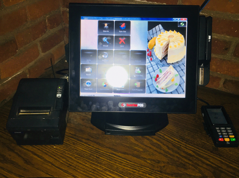 SunrisePOS Pioneer Solution hardware image installation Aldelo Marie Callender's® Restaurant & Bakery #41