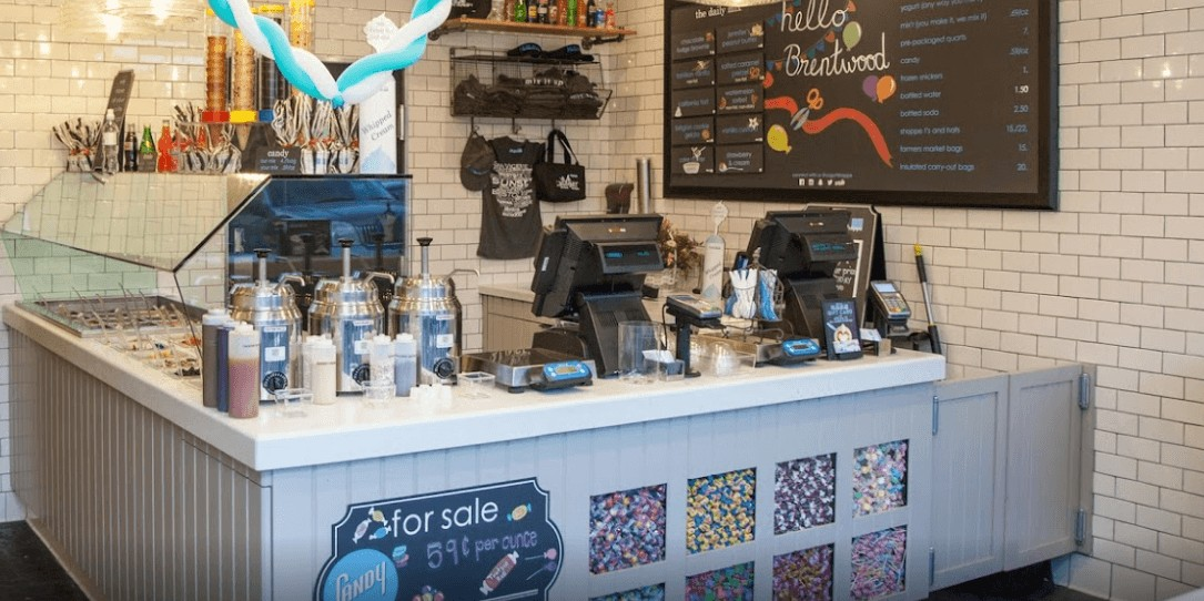 SunrisePOS Pioneer Solution installation S-Line II the Yogurt Shoppe Brentword California photos frozen yogurt